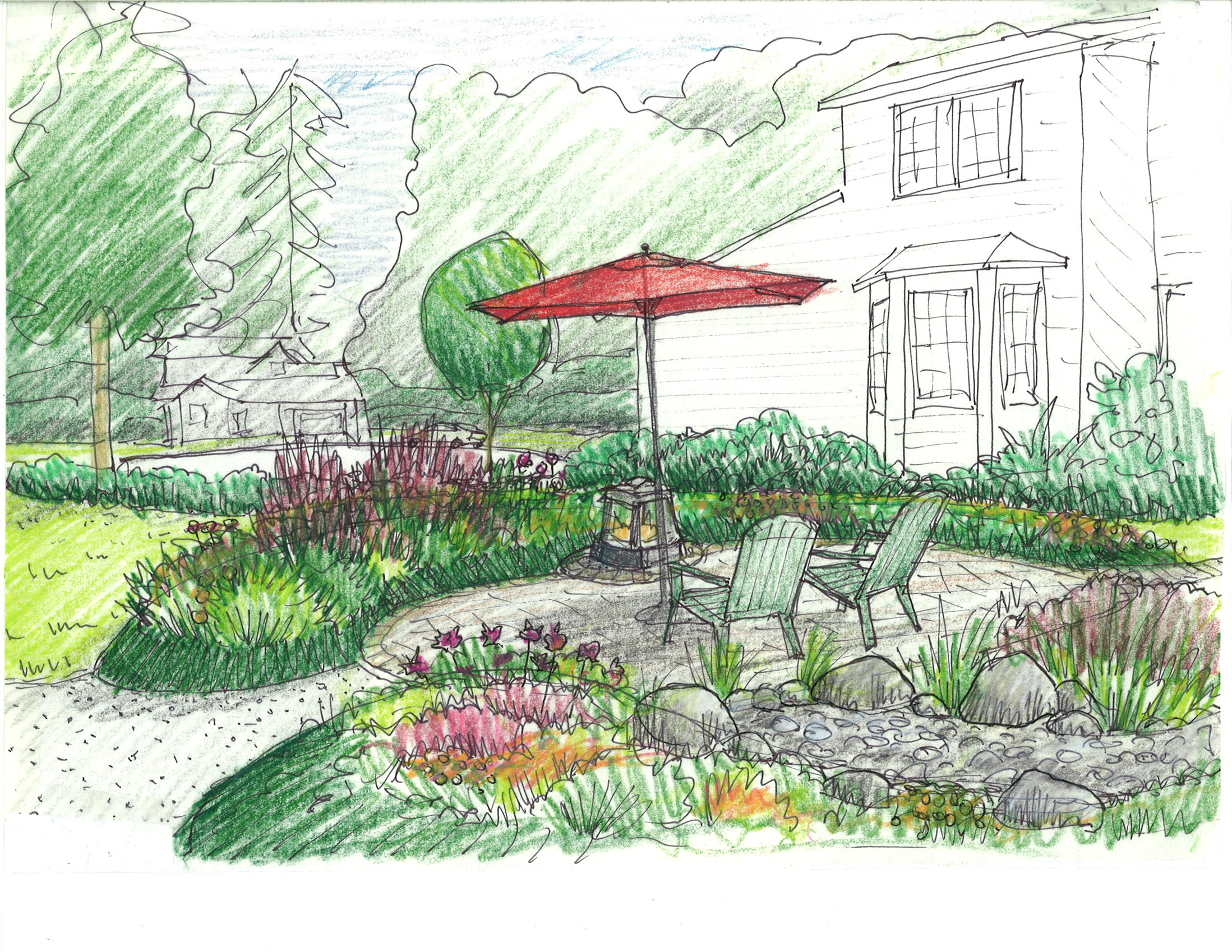 Sketch of the week erin lau design for Garden design sketches