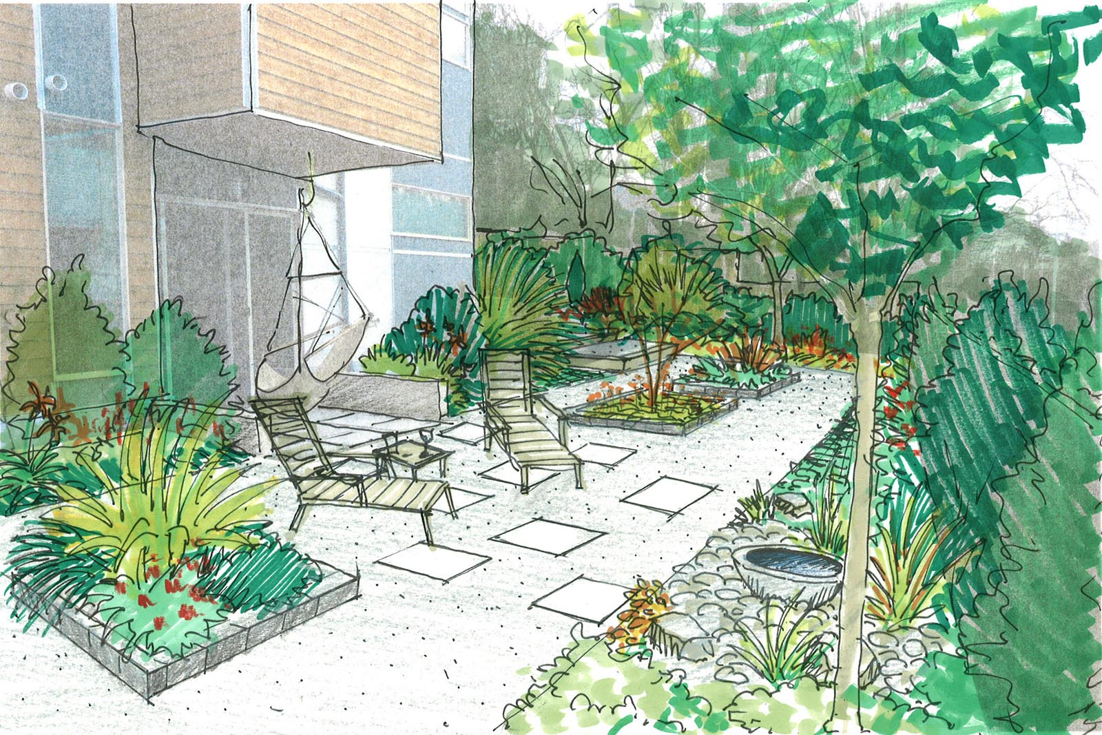 Pin residential landscape sketches and drawings on pinterest for Residential landscape designer