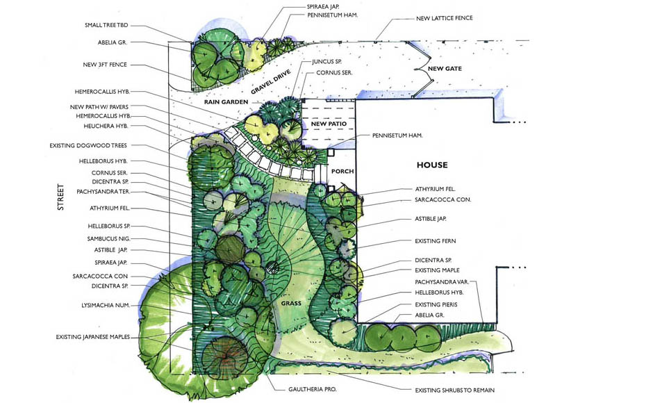 Modern landscape design sketches gallery for Landscape garden design plans