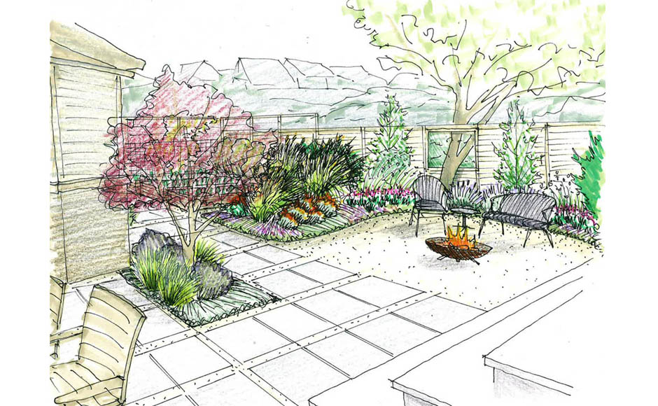 Image gallery modern landscape design sketches for Garden design sketches